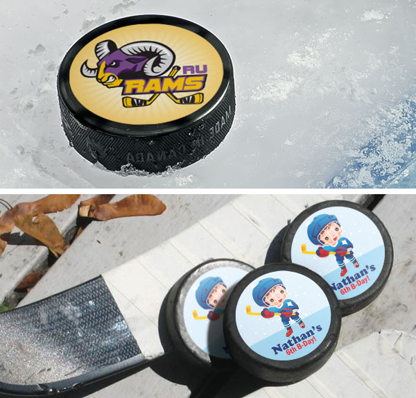 custom labels, custom stickers, hockey stickers, puck labels, puck stickers, hockey puck stickers