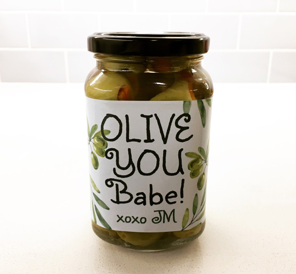 Olive You Valentines Label