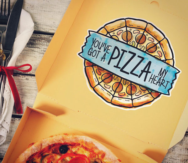 Pizza My Heart Custom Valentine Funny Sticker