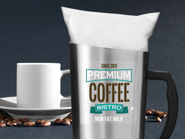Clear custom labels for coffee products