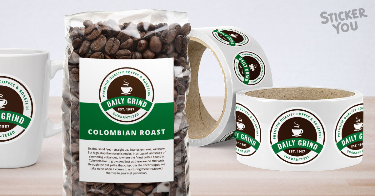 Custom coffee labels and packaging