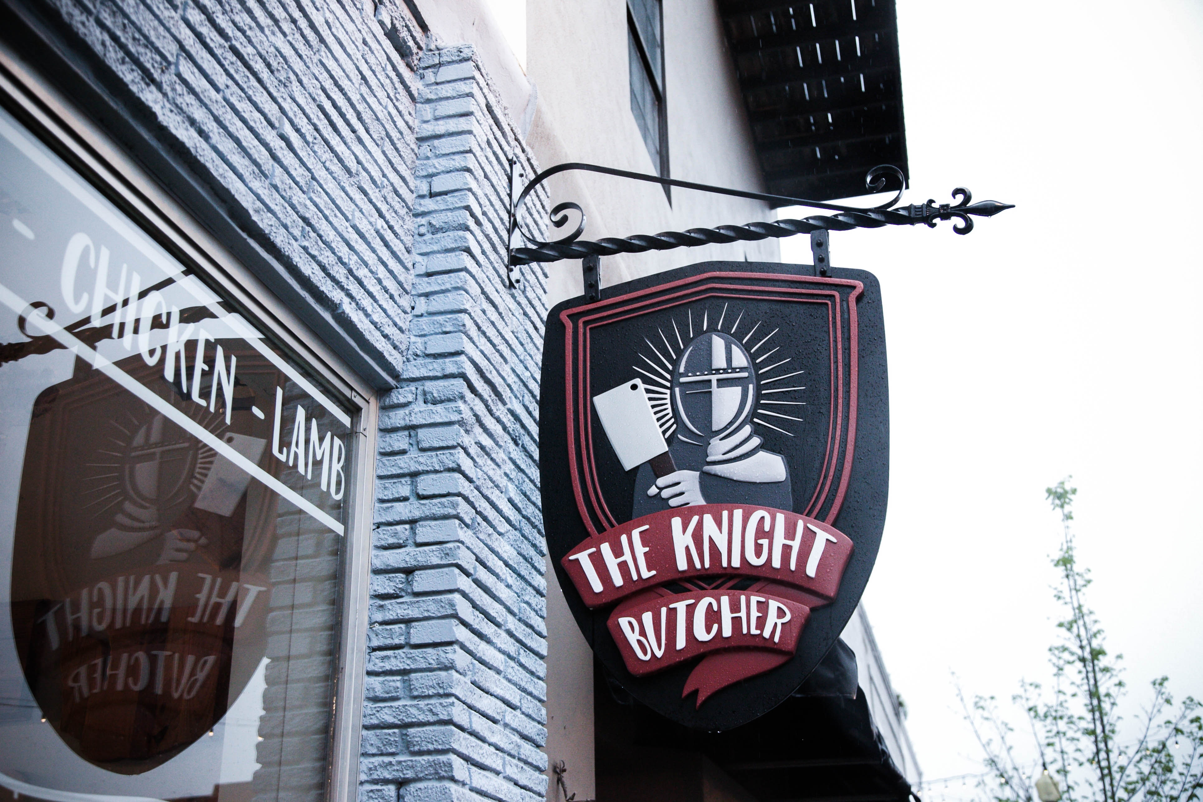 Knight Butcher sign with custom window decals