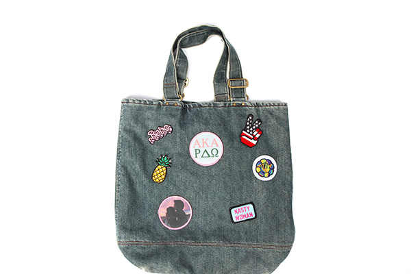 Tote bag with custom patch