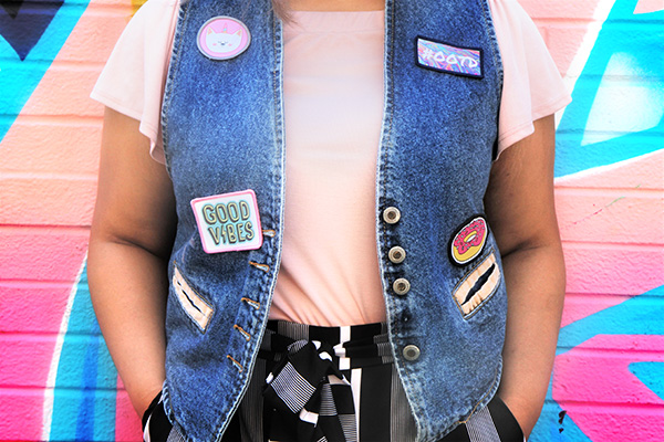 Denim vest with custom patches