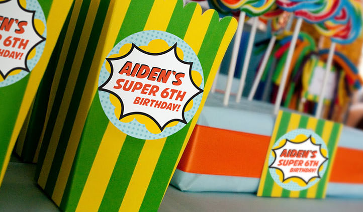 Round birthday sticker on a candy loot box