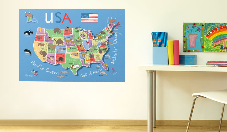 USA Map Wall Decals