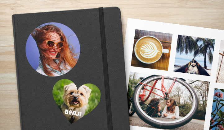 Custom photo sticker page and photo stickers on a notebook