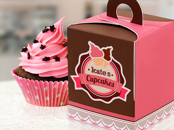 Logo sticker on a cupcake box