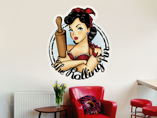 Wall decal in a cafe