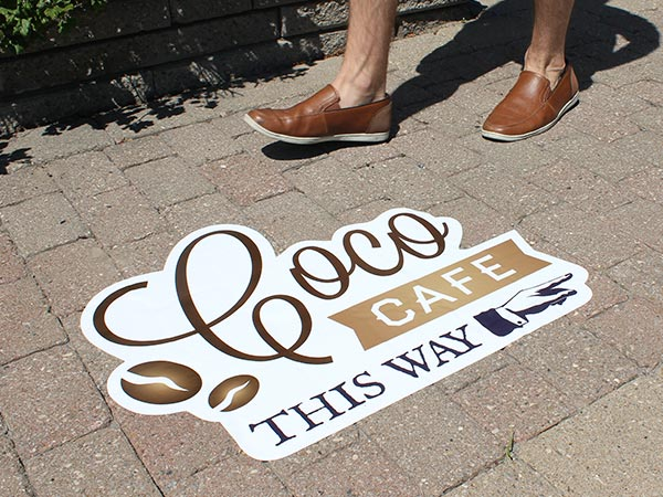 Outdoor street decal on a sidewalk