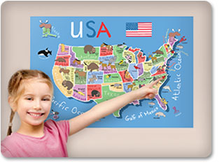 USA Map Wall Decal inspires children to learn