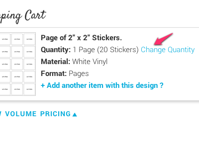 Change Sticker Quantity
