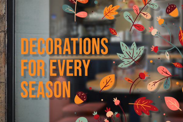 Autumn window decals presenting decorations for every season.