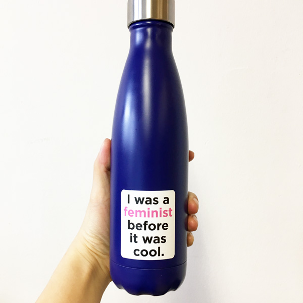 Water bottle feminism sticker