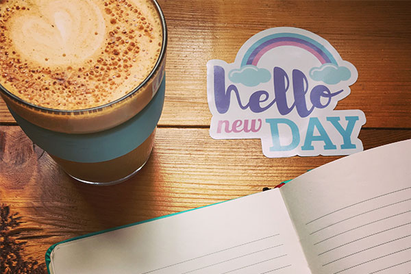 Hello New Day mantra sticker