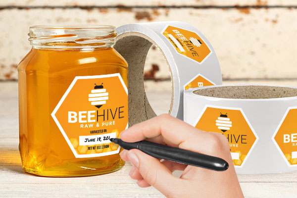 StickerYou White Vinyl Honey Labels