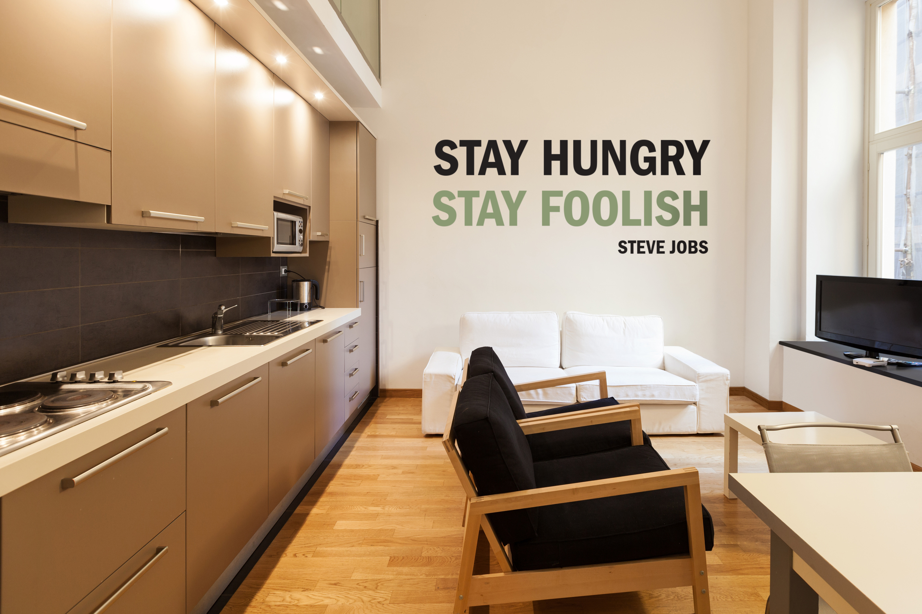 Stay hungry, stay foolish wall lettering decals