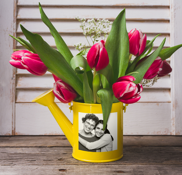 Watering can with custom photo sticker