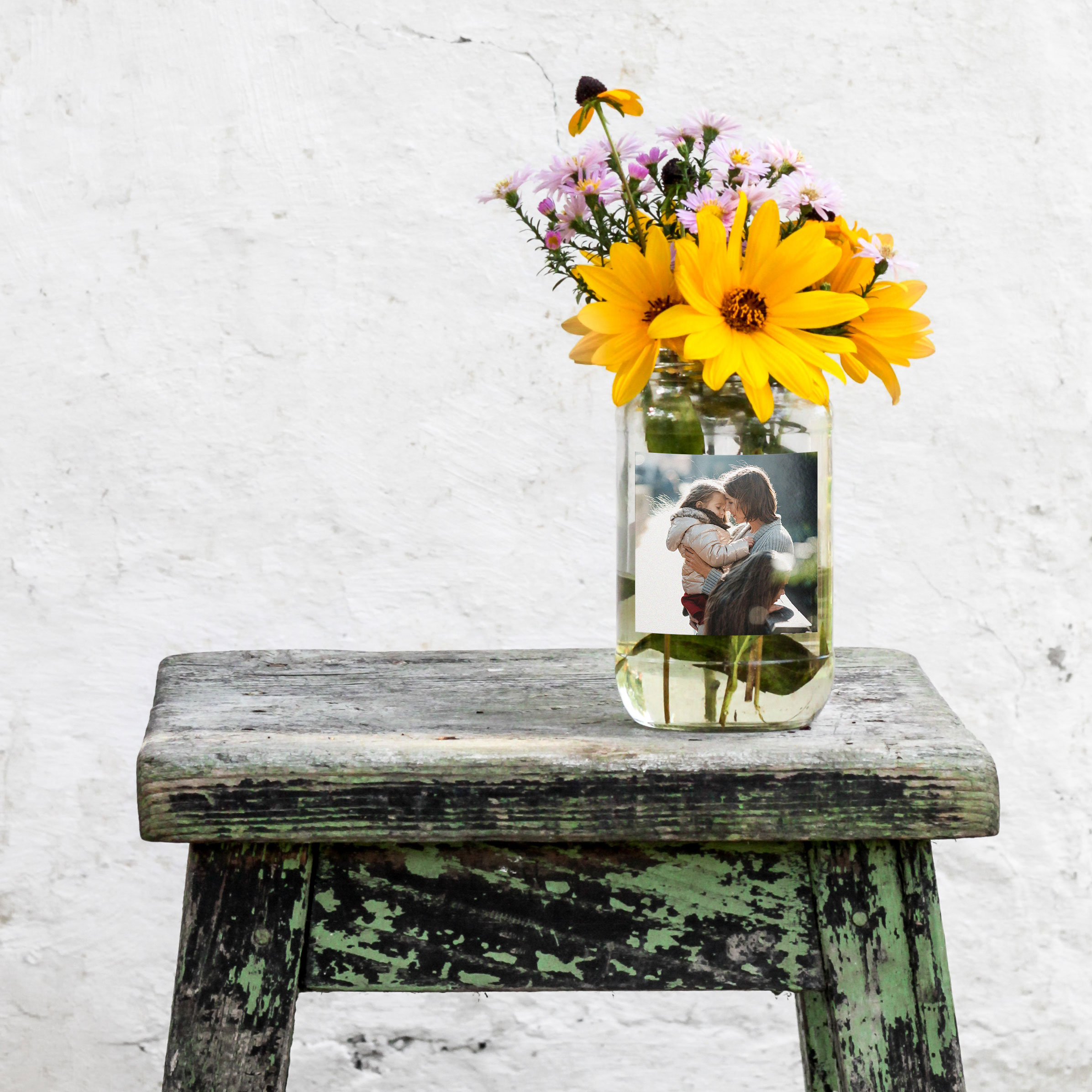 Create clear stickers mason jar with flowers