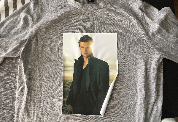 Custom iron-on transfer on shirt