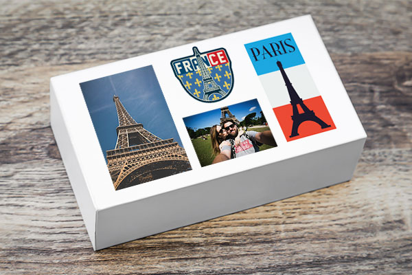 Travel Keepsake Box with custom photo stickers
