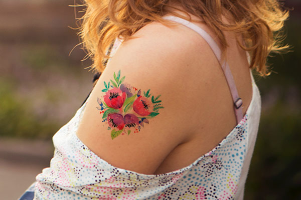 Vintage Floral Custom Temporary Tattoo Design