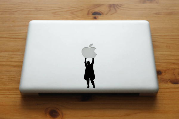 custom macbook decal say anything holding apple