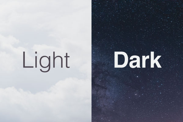Typography on light and dark backgrounds