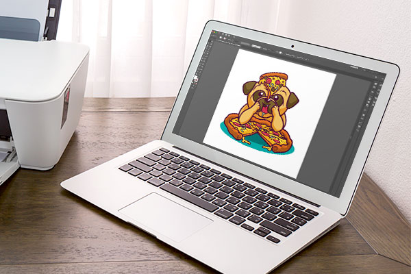 Art being designed on a laptop