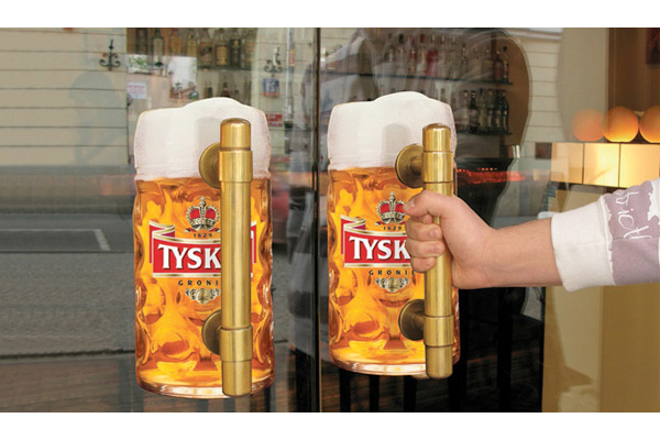 tyskie beer door handle window decal