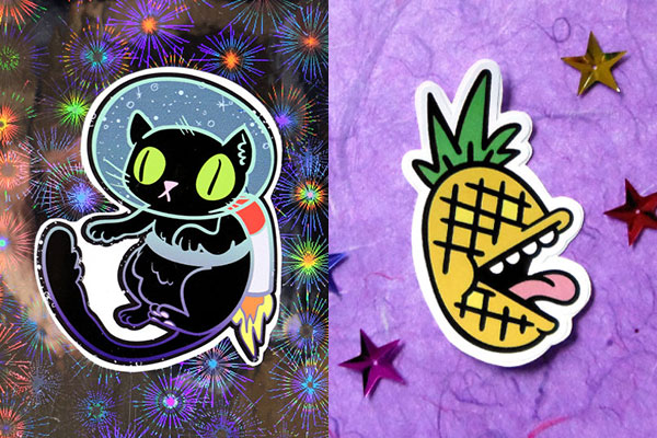cat in space and pineapple customer die-cut stickers