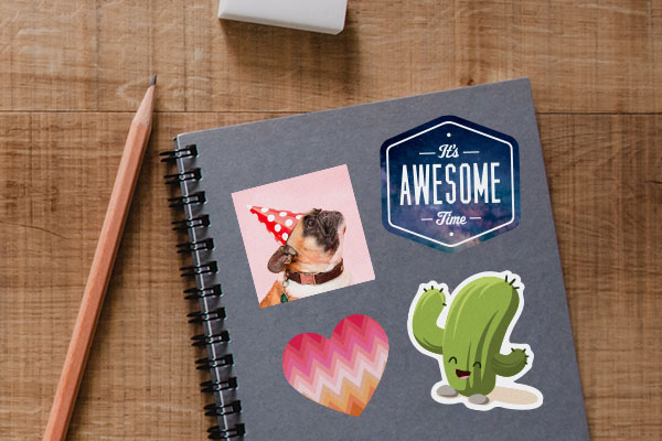 Custom stickers on a notebook