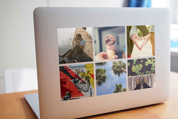 photo stickers on a laptop