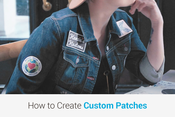 Woman with custom patches applied to her denim jacket
