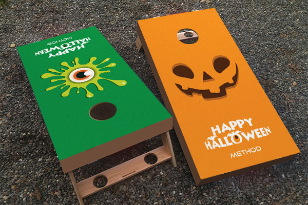 Custom Halloween cornhole board decals