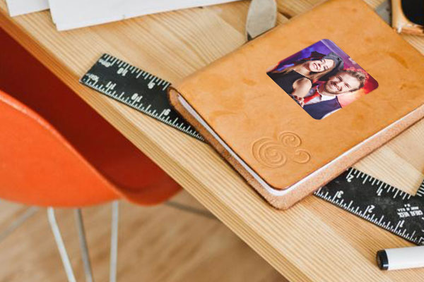 Custom Halloween photo sticker on a notebook