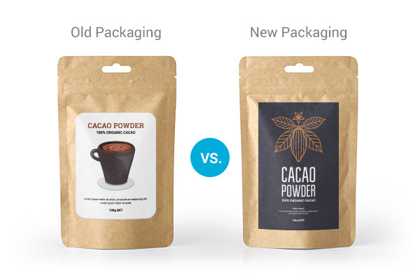 Comparison of old packaging labels versus new packaging labels