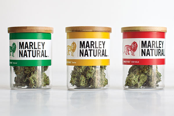 Marley marijuana packaging jars with custom labels