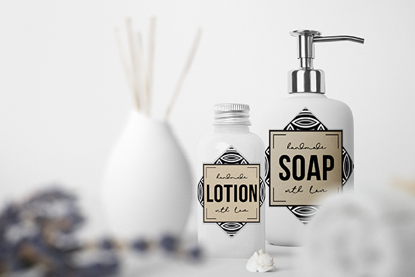 Glass soap bottles with customized labels