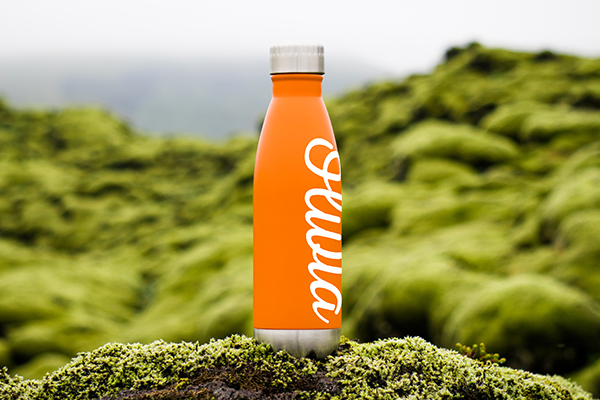 Eco-friendly reusable water bottle with vinyl lettering