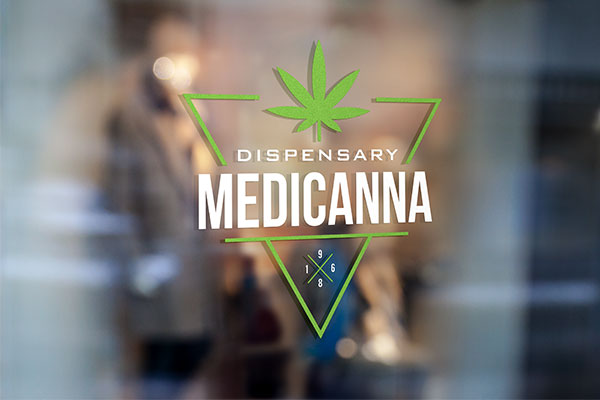 Dispensary logo vinyl graphic on a store window