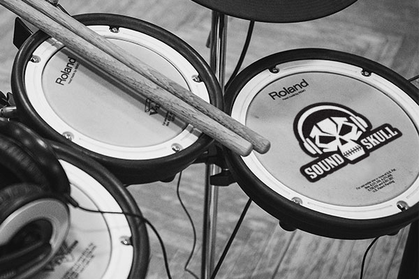 Custom die-cut sticker on a drum set