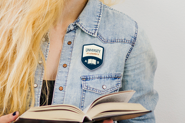 Badge being worn by a college student