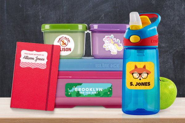 Kids labels on various school products