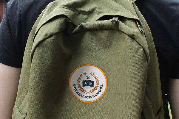 School logo patch applied to a backpack