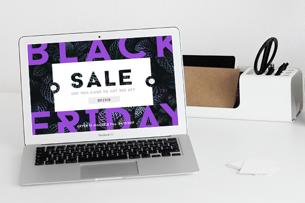 Black Friday sale on a laptop screen