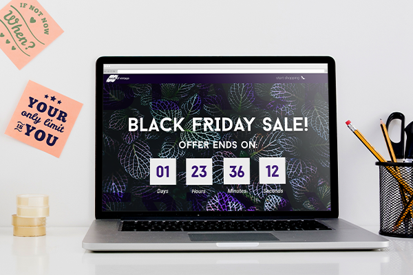 Black Friday countdown flash sale on a laptop screen