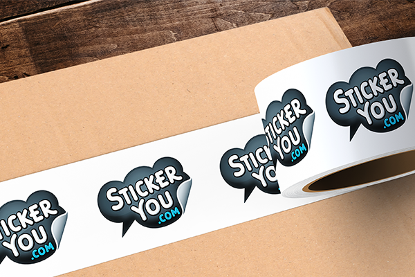 StickerYou branded packaging tape on a cardboard box