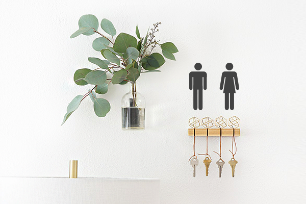Gendered wall decals for bathroom keys