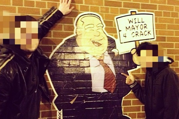Rob Ford decal on a brick wall